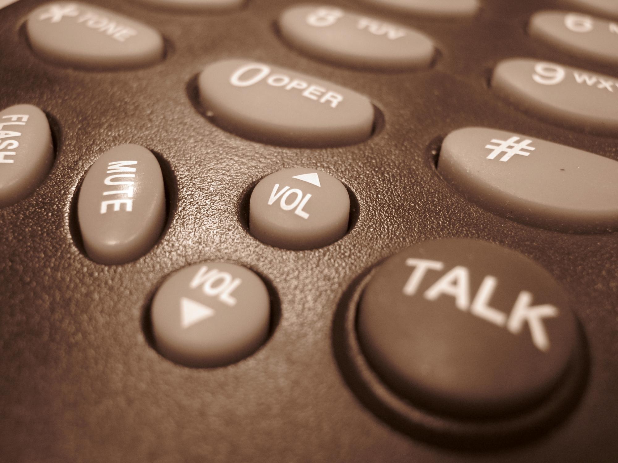 Closeup on telephone keyboard