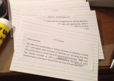 Pack of index cards outlining my presentation