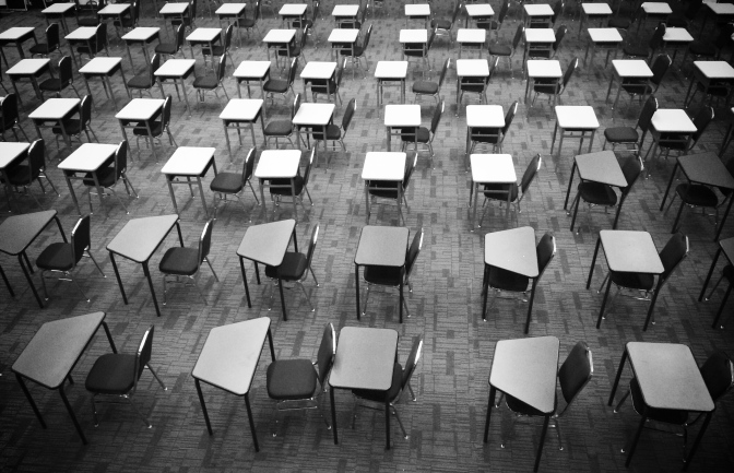 Empty examination room in black and white